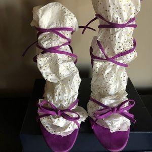 Manolo Blahnik Purple Suede Ankle-wrap Sandals